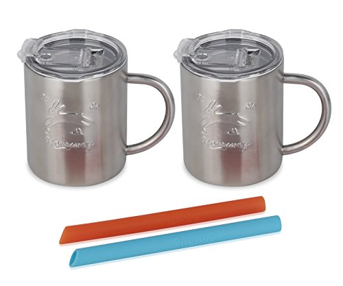 Housavvy Rabbit Stainless Steel Kids Handle Cups with Lids and Straws, 2 PACK by Housavvy (Image #2)