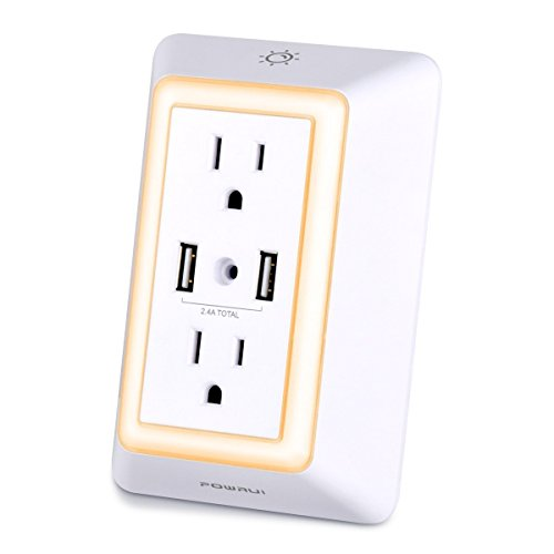 Price comparison product image Multi Outlet, POWRUI Wall Mount Outlet Surge Protector with 2 AC Wall Outlet and LED Touch Nightlight and 2 USB Ports (2.4A Total) for Smartphones/Tablets/Appliances, White, ETL Certified