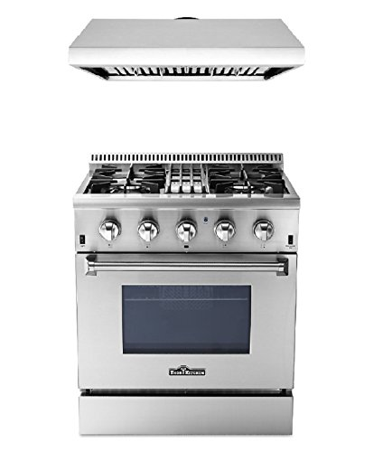 - 30 Inch Dual Fuel Range and 30 Inch range hood, Thor Kitchen Bundle