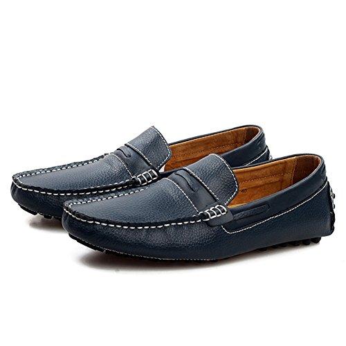 Aller Tour Hommes En Cuir Véritable Mode Marche Mocassins Décontractés Chaussures Bleu Foncé-b