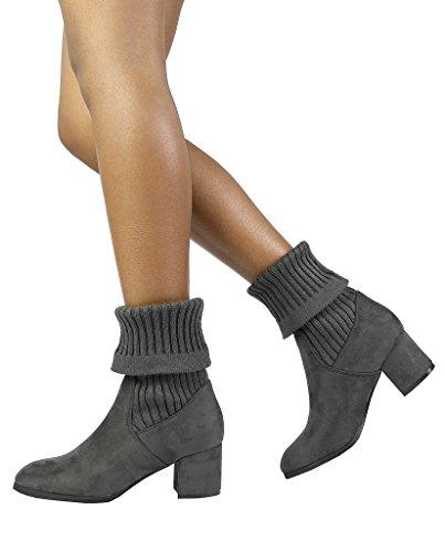 Dream Pairs Botines Con Tacón Grueso Ankleg Para Mujer Gris-s