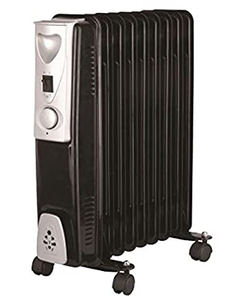 616a70d7673 2000W 9 Fin Slimline White Oil Filled Radiator Heater Thermostat Warmer 2kw  Black  Amazon.co.uk  Car   Motorbike