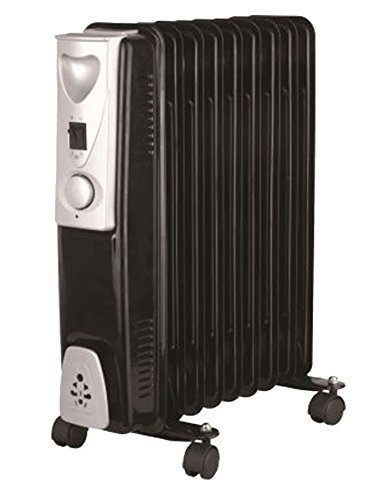 c42bafa50b1 Portable 9 Fin 2kw Electric OIL FILLED RADIATOR Heater Thermostat Controlled  Black  Amazon.co.uk  Kitchen   Home