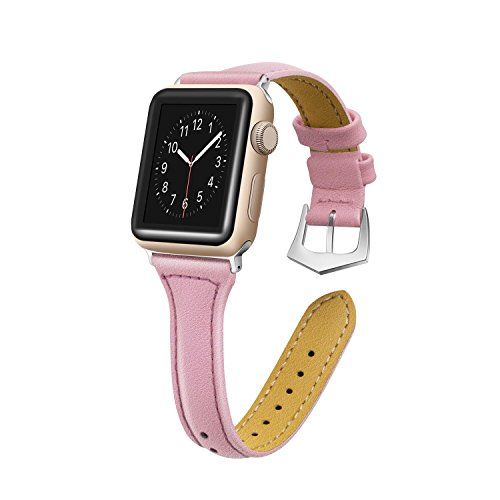 Censha Compatible with Apple Watch Band 44mm 42mm 40mm 38mm, Women Leather Slim Replacement Apple Watch Strap Sports Wristband for iWatch Series 4/3/2/1(Pink 38mm/40mm)