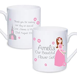 Fabulous Flower Girl Mug. This is a great product that can be personalised to your requirements ( please see main discription for full details ) Ideal gifts and presents for weddings, Christenings, Birthdays, Christmas etc…