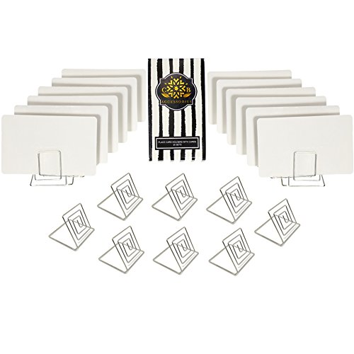 CB Accessories Wire Place Card Holder Stands with White Cards for Weddings, Dinner Parties, Table Top Numbers, Food Signs (20 Sets - Silver) ()