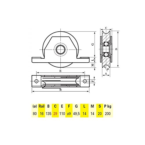 Roulette acier /à encastrer U /Ø80mm