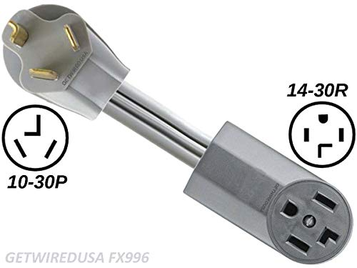Dryer Power Cord Adapter, 3-Prong Plug To 4-Prong Outlet, Male To Female Electric Converter. Old Dryer To New Dryer, FX966 (Dryer Clothes Cord)