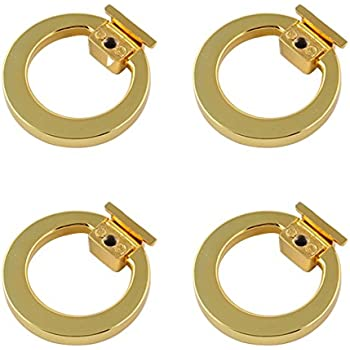 Welldoit Modern Cabinet Drawer Pull Handle Dresser Wardrobe Cupboard Knob  Ring Pack Of 4 (Gold