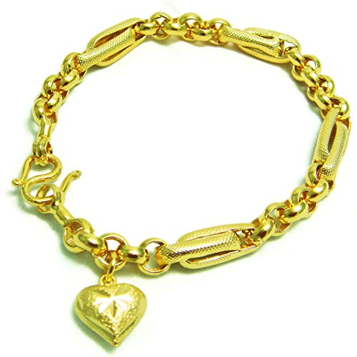 Mix Brecelet Heart Drop Thai Gold Plated Bangle 22k 24k Thai Baht Yellow Gold Filled Chain Bracelet 8 inch ()
