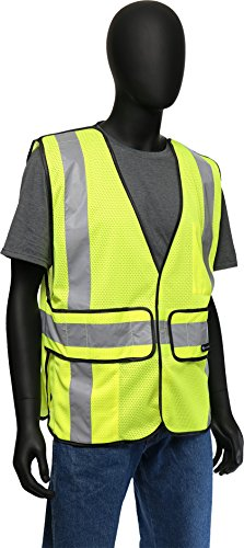 West Chester 47200 Class 2 High Visibility ANSI Compliant Work Wear 5 Point Breakaway Vest: Green, One Size Fits Most