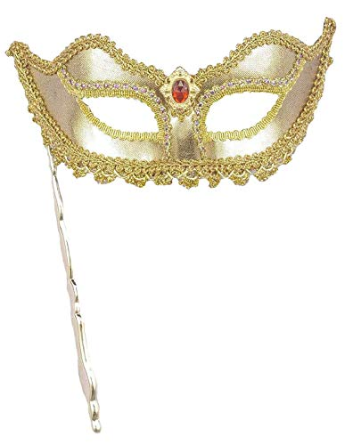 Forum Novelties Women's Metallic Masquerade Mask with Holding Stick, Gold, One Size (With Handle Mask)