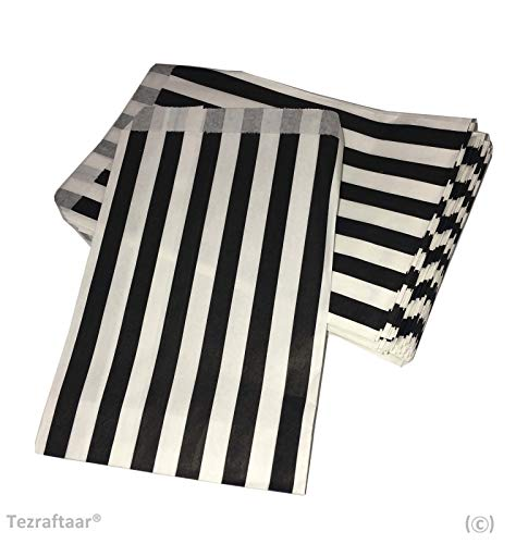 Tezraftaar® 500 5″x7″ Candy Stripe Paper Bags Sweet Favour Buffet Gift Shop Wedding Party Sweets Cake (Choose Colour) (Black)
