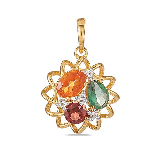 (Yellow Gold Plated 925 Sterling Silver Oval Padparadscha Pear Topaz Fancy Pendant For Ladies with Round Garnet Without Chain)
