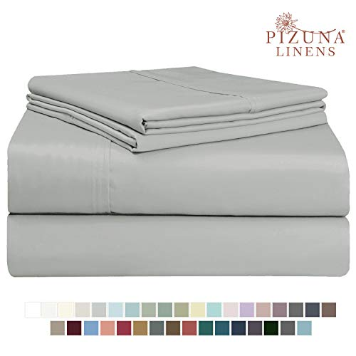 Pizuna 400 Thread Count Cotton Twin Sheet Sets Light Grey 100 Long Staple Cotton Soft Sateen Bed Sheets Deep Pocket Fit Upto 15 Inch Silver Gray Twin Cotton Sheet Set