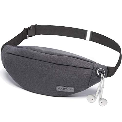 Fanny Pack for Men Women Unisex with Headphone Jack and 3-Zipper Pockets Adjustable Belt Waist Pack Bag for Outdoors Workout Traveling Casual Running Hiking Festival (Dark Grey)