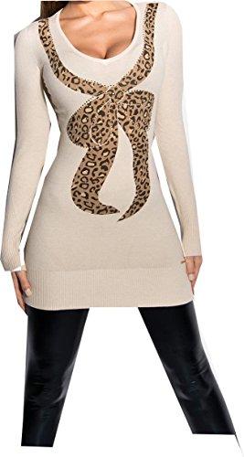 pull long beige motif leopard sexy femme