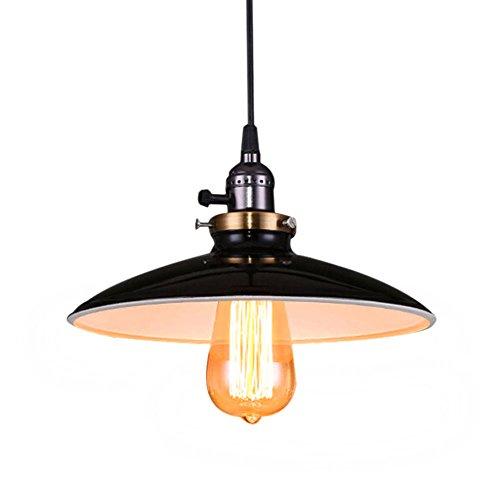 Fuloon Retro Industrial Edison Ceiling Light 1 Light Metal Shade Loft Coffee Bar Kitchen Hanging Pendant Light Lamp(Black)