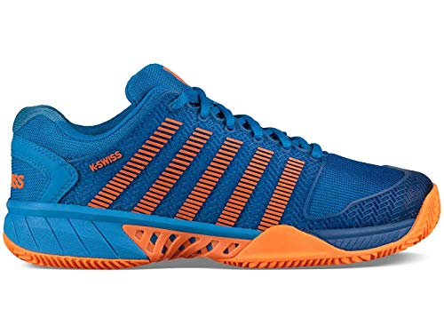 Game 3 Tennis Shoe - K-Swiss Junior Hypercourt Express Tennis Shoes, Brilliant Blue/Neon Orange (Size 3 M US Little Kid)
