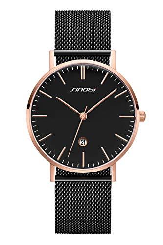 SINOBI Ultra Thin Minimalist Stainless Steel Mesh Band Mens Watch Unisex Wrist Watch (S9709G-Black Dial-Calendar)