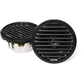 Image of Aquatic AV AQ-SPK6.5-4LB Pro-Series Waterproof 6.5' Co-axial Speaker, 200W Total Power, 4 Ohm, 13mm Tweeter, Removable Grill, Blue LED, Black Color, 1 Pair Coaxial Speakers