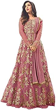 VintFlea 'Womens Bollywood Designer Net Gown' with Duptta, Embroidered Work, Indian Ethnic Look, Semi-