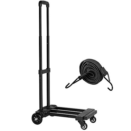 (KEDSUM Folding Hand Truck, 155 lbs Heavy Duty Luggage Cart, 4 Wheels Solid Construction, Portable Fold Up Dolly, Compact and Lightweight for Luggage, Personal, Travel, Moving and Office Use )