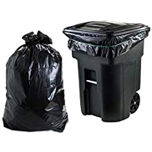 """Plasticplace 95-96 Gallon Garbage Can Liners │ 1.2 Mil │ Black Heavy Duty Trash Bags │ Rolls │ 61"""" x 68"""" (50 Count)"""