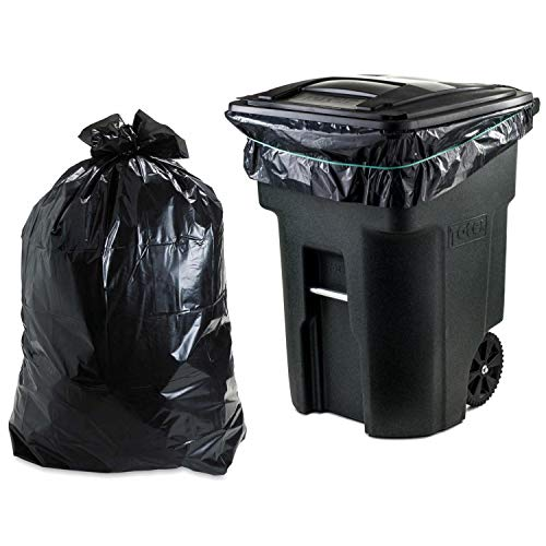 Plasticplace 95-96 Gallon Garbage Can Liners │ 1.2 Mil │ Black Heavy Duty Trash Bags │ Rolls │ 61