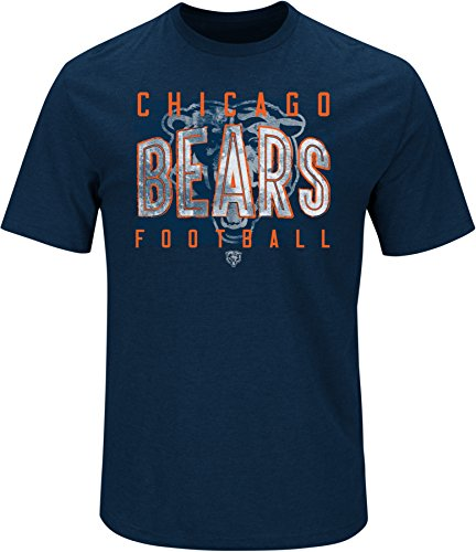 Chicago Bears Crew Shirt - NFL Chicago Bears Men's Ball Carrier Short Sleeve Crew Neck Tee, Large, Navy
