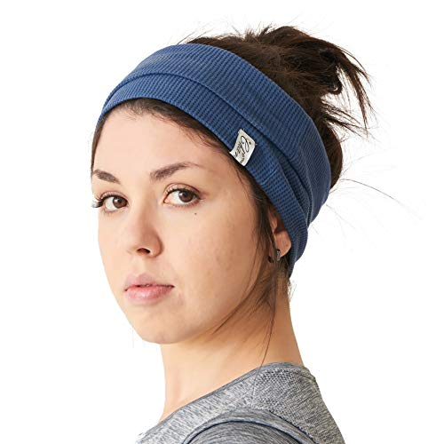 Mens Wide Headband 100% Cotton Womens Yoga Hairband Sports Fashion Made in Japan Korean Dreads Stretchy Hair Head Wrap Accessory Blue