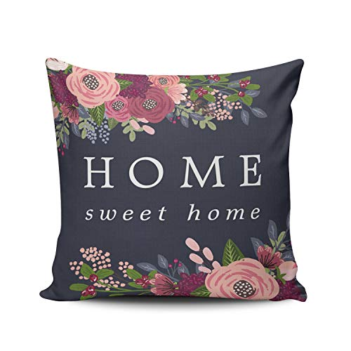 XIUBA Throw Pillow Covers Case Navy Green and Pink Home Sweet Home Blush Burgundy Flowers Decorative Pillowcase Cushion Cover 16 x 16 inch Square Size One Side Design Printed