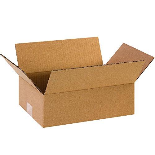 """BOX USA B1284100PK Flat Corrugated Boxes, 12"""" L x 8"""" W x 4"""" H, Kraft (Pack of 100) from BOX USA"""
