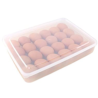 Anple Egg Holder with Lid for Refrigerator, Stackable Food Container or Storag, Fits 24 Eggs