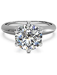 3 Ct CZ Solitaire Engagement Ring Sterling Silver White Gold Plated