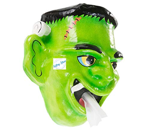 WitnyStore Toilet Paper Frankenstein Halloween Holder Tissue Bathroom Paper Mache Holding roll Kids Handmade Craft Home Decorations idea DIY