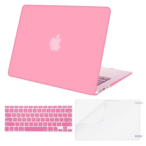 MOSISO Plastic Hard Shell Case & Keyboard Cover Skin & Screen Protector Only Compatible with MacBook Air 11 Inch (Models: A1370 & A1465), Pink