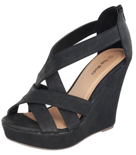 Top Moda Ella-18 Women's Gladiator Wedge Heel Sandals,Black,9