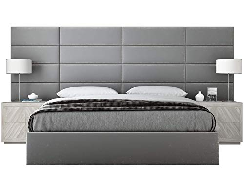 Bedroom 39 Inch Set - Vänt Upholstered Wall Panels - King/Cal King Size Wall Mounted Headboards - Plush Velvet Smoke Gray - Panel Size 39
