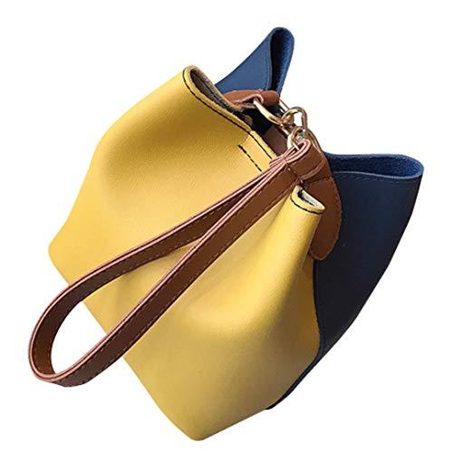 (Women Leather Wide Handbag Patchwork Shoulder Crossbody Bucket Bag)