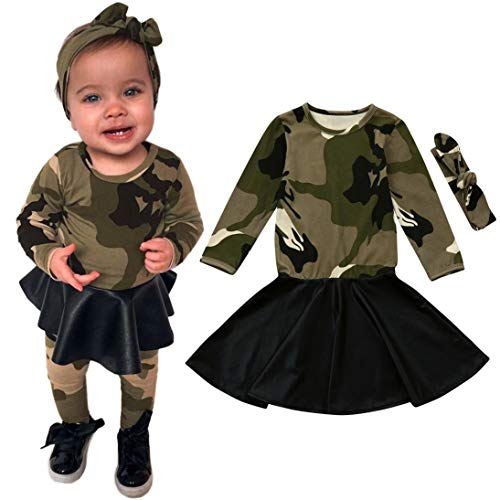 TEVEQ 2Pcs Toddler Kids Baby Girls Camouflage Princess Dress Headbands Outfits Clothes -
