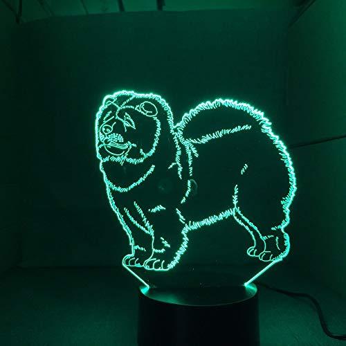 3D Illusion Nachtlicht, Nachtlicht, optisch, Chow Dog Lamp Kid Toy Touch, 7 Farben, Tischlampe, Weihnachtsdekoration…