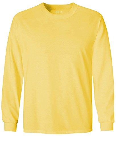 - Joe's USA Youth Long Sleeve Heavyweight Cotton T-Shirts,Yellow,Large