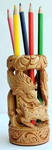 SouvNear Big Sale Hand-Carved 4 Inch Brown Animal Sculpture Pen/Pencil Stand in Kadam Wood with Figurines of Lion, Deer and Elephant - Handmade Pen Holder/Desk Organizer - Table Top Accessories ()