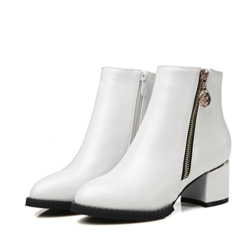 PU Toe Heels White Closed Allhqfashion Pointed Top Kitten Women's Boots Low Solid qBtxwz0
