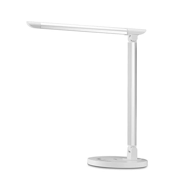 TaoTronics LED Desk Lamp Eye-caring Table Lamp, Energy Efficient LED Lamp(12W, Dimmable, Touch Control, 5 Color Modes, USB Charging Port) Silver