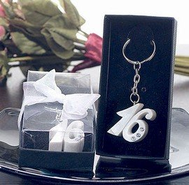 Sweet 16 Keychain Favors - Pearl White Sweet 16 Keychain Favors with Rhinestones