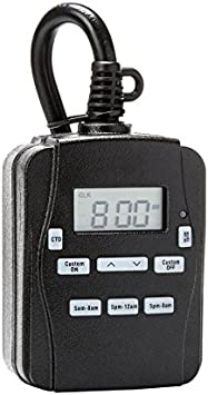 Lighting Timer 15-Amp 3-Outlet Digital Residential Plug-in Countdown Outdoor