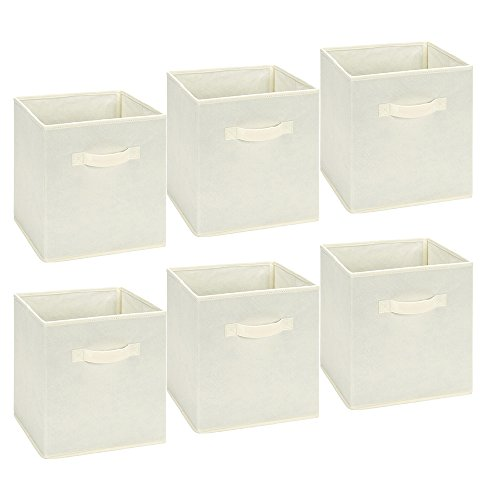 EPSKY  Foldable Storage Cubes Storage Bins Foldable Cloth Container Baskets Cubes Box, Collapsible Shelf Closet Organizer Drawer, Good Helper for Home Decor and Outdoor Picnic 6 Pack -Beige by EPSKY