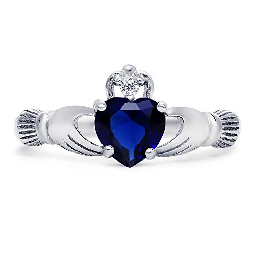 sapphire claddagh ring - 3